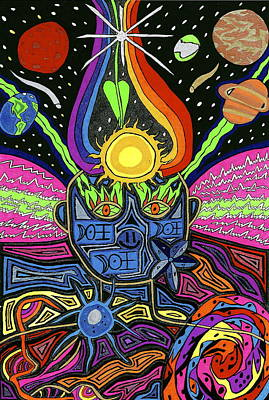 Cosmic Space Drawing - Multidimensional Being by Michelle Meaney