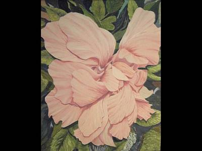 Art Print featuring the painting Multipetaled Pink Hibiscus by Hilda and Jose Garrancho
