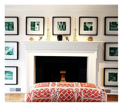 Drawing - Multiple Images - Fireplace Wall - Sample Drawing Details With White Lines On Green Backgrounds - 20 by Charlie Szoradi