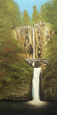 Mixed Media - Multnomah Falls by Angela Stout