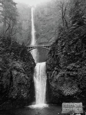 Photograph - Multnomah Falls - Black And White by Scott Cameron