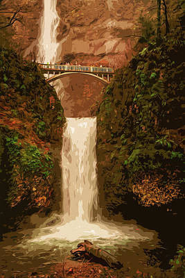 Painting - Multnomah Falls In Autumn by Andrea Mazzocchetti