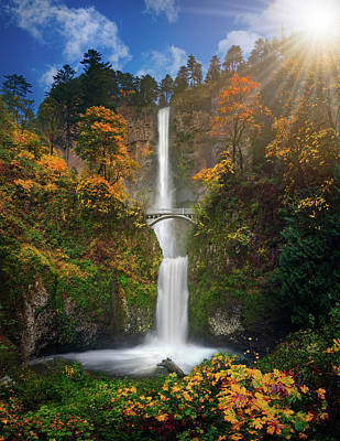 Multnomah Falls In Autumn Colors -panorama Art Print by William Lee