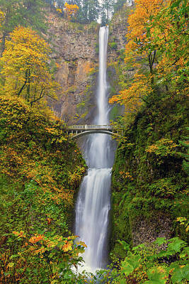 Hiking Photograph - Multnomah Falls In Fall Season Colors by David Gn