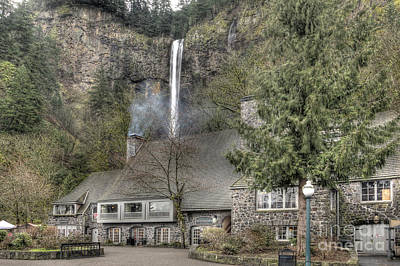 Multnomah Falls Waterfall Photograph - Multnomah Falls Lodge And Restaurant Columbia River Gorge Oregon by Dustin K Ryan