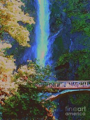 Painting - Multnomah Falls by Methune Hively