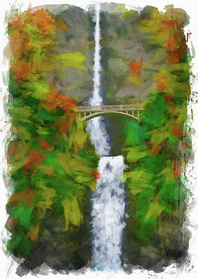 Digital Art - Multnomah Falls Oregon Digital Paint by Ricky Barnard