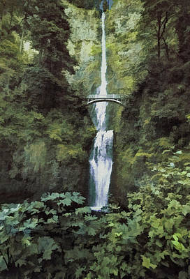 Photograph - Multnomah Falls Painterly by Diane Schuster