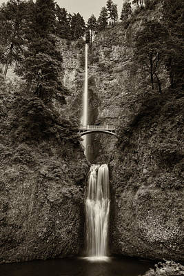 Photograph - Multnomah Water Falls Oregon Sepia Dsc05331 by Greg Kluempers