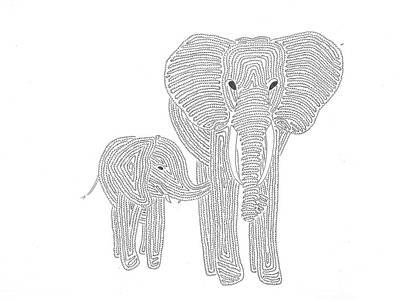 Simplicity Drawing - Mum And Baby Elephant by Nerea Gutierrez
