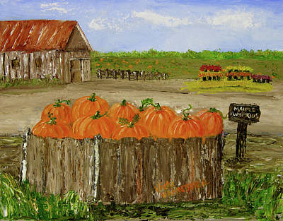 Painting - Mum And Pumpkin Harvest by Vicki VanDeBerghe