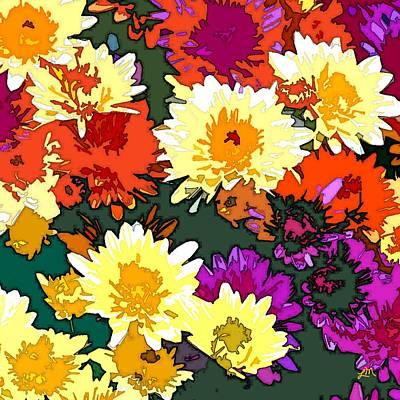 Red Flowers Digital Art - Mum Flowers Showing Off by Linda Mears