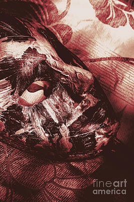 Photograph - Mummified Paper Mache Horror Mask. Dark Carnival by Jorgo Photography - Wall Art Gallery