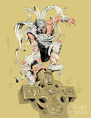 Mummy On Cross Print by Aloysius Patrimonio