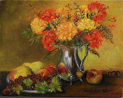 Old Pitcher Painting - Mums And Fruit by Aurelia Nieves-Callwood