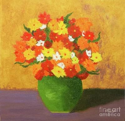 Painting - Mums And Marigolds  by Barrie Stark