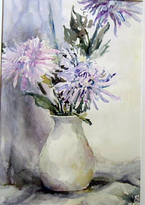 Mums In White Pitcher Art Print by Dorothy Herron