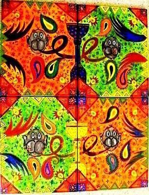 Painting - Mun Moji-hookah Monkeys by Fareeha Khawaja