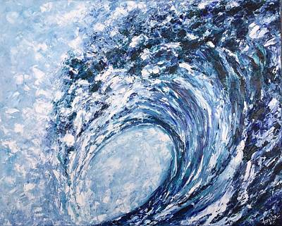 Painting - Into The Blue - Mun Moji - Soul Wave Series  by Fareeha Khawaja