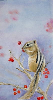 Chipmunk Painting - Munchin Luncheon by Patricia Pushaw