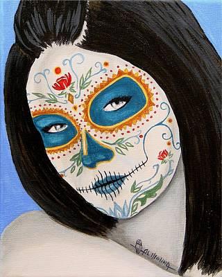 Muneca De Azul Art Print by Al  Molina