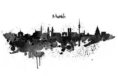 Dripping Digital Art - Munich Black And White Skyline Silhouette by Marian Voicu