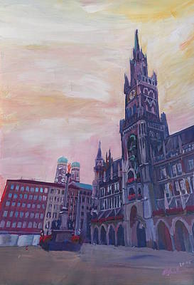 Impressionistic Painting - Munich City Hall And St Marys Place by M Bleichner