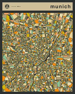 Munich City Map Art Print by Jazzberry Blue