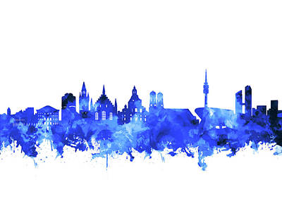 Digital Art - Munich City Skyline Blue by Bekim Art