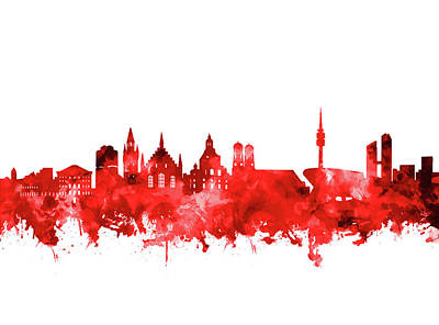 Digital Art - Munich City Skyline Red by Bekim Art