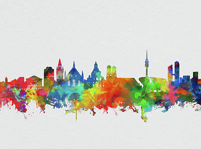 Digital Art - Munich City Skyline Watercolor by Bekim Art