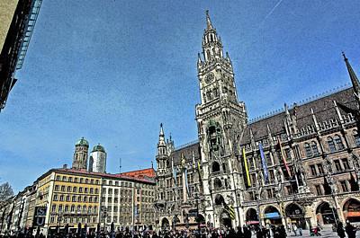 City Hall Digital Art - Munich Marienplatz City Hall And Cathedral Towers by Paul Pobiak