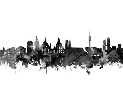 Digital Art - Munich Skyline Black And White by Bekim Art