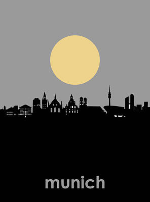 Digital Art - Munich Skyline Minimalism by Bekim Art