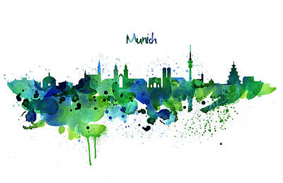 Mixed Media - Munich Skyline Silhouette by Marian Voicu