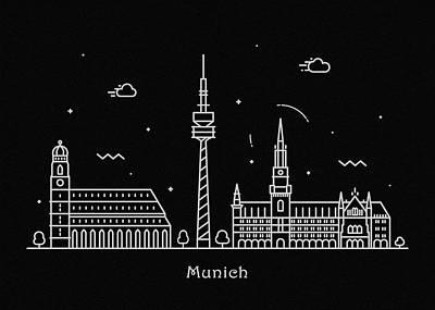 Drawing - Munich Skyline Travel Poster by Inspirowl Design