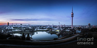 Print featuring the photograph Munich - Watching The Sunset At The Olympiapark by Hannes Cmarits