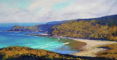Beach Scene Painting - Munmorah Coastline Australia by Graham Gercken