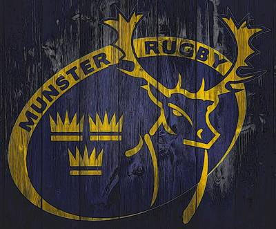 Rugby Union Digital Art - Munster Rugby Graphic Barn Door by Dan Sproul