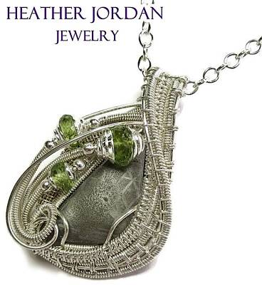 Woven Wire Jewelry - Muonionalusta Meteorite Slice Pendant In Sterling Silver With Peridot Imsss5 by Heather Jordan