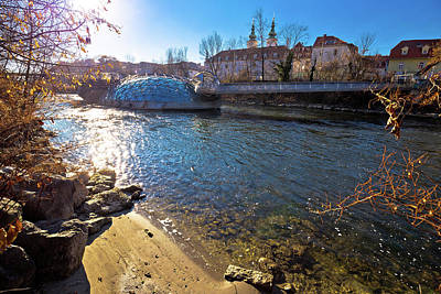 Photograph - Mur River Beach And Murinsel In Graz View by Brch Photography