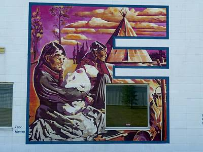 Painting - Mural 12x120 Feet Detail Beaver Tribe Women Midwest by Tim  Heimdal