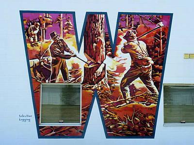 Painting - Mural 12x120 Feet Detail Midwest Tree Fellers by Tim  Heimdal