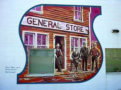 Painting - Mural 12x120 Feet Detail Peace River General Store Midwest by Tim  Heimdal