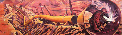 Painting - Mural 12x90 Feet Detail Pipeline by Tim  Heimdal