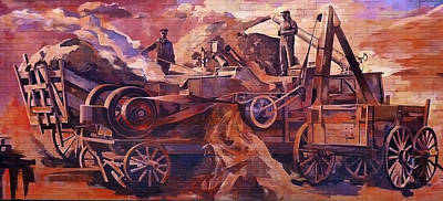 Painting - Mural 12x90 Feet Detail Threshing Crew by Tim  Heimdal