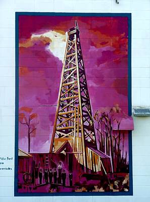 Mural Detail 12x120 Feet Midwest The First Oil Derek In Alberta Art Print by Tim  Heimdal