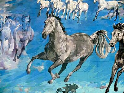 Painting - mural detail Equus Descending  by Tim  Heimdal