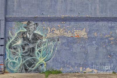Mellow Yellow - Mural of Robert Johnson on a wall in Clarksdale by Patricia Hofmeester