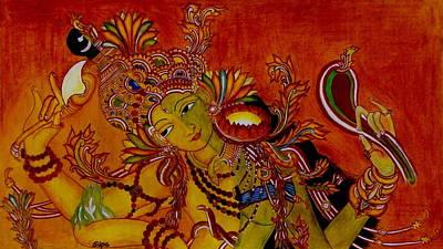 Half God Painting - Ardhanarishwara by Silpa Saseendran